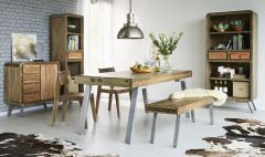 Retro Wood & Metal Large Dining Table