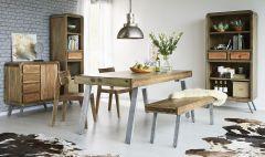 Retro Wood & Metal Medium Dining Table