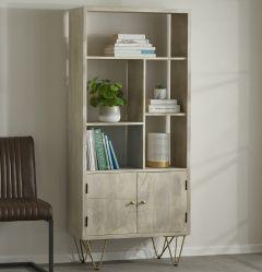 Multi shelf bookcase with Doors Dallas Light Mango