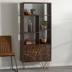 Multi shelf bookcase with Doors Dallas Dark Mango