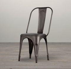 Metal Chair Grey  Upcycled Industrial Vintage Mintis Pair