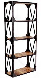 Vintage Industrial Metal and Wood Large Bookcase