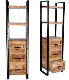 Upcycled Industrial Mintis Narrow Bookcase with 3 Drawers