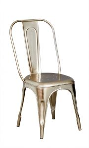 Metal Chair Silver  Upcycled Industrial Vintage Mintis Pair