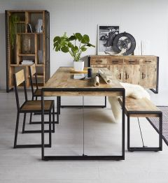 Cosmos Industrial Metal and Wood Dining Table