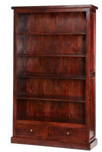 Maharani Dark Wood Large Bookcase with Drawers