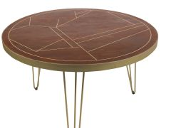 Round Solid Wood Dining Table 4 Seats Dallas Dark Mango