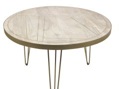 Round Solid Wood Dining Table 4 Seats Dallas Light Mango