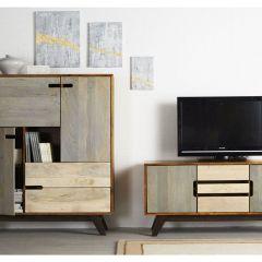 Solid Wood Bookcase Cabinet Retro Trio