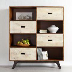 Solid Wood Bookcase Display Unit Retro Trio